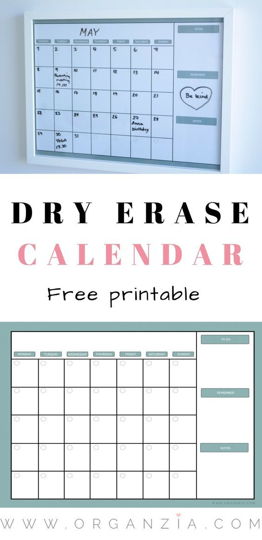 Diy Monthly Planner Dry Erase Calendar