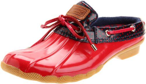 SPERRY HERON RED/NAVY DOTS WOMENS RAIN SHOES
