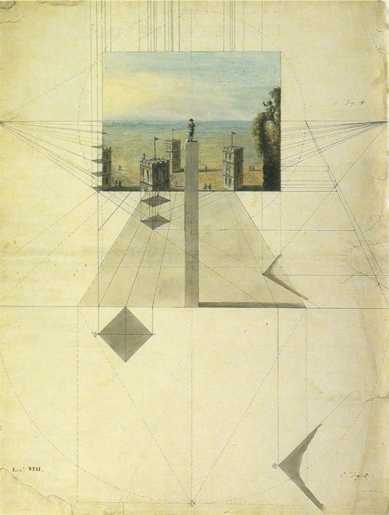 A Lesson in Perspective showing a Method of Drawing Towers from a Point Above Them. Drawing. Italy, c.1780 @ Victoria & Albert Museum, London.