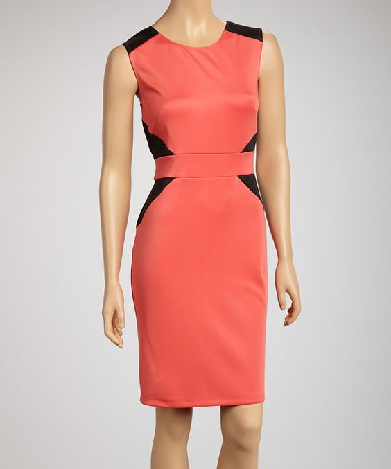 Take a look at this AA Studio Coral Color Block Scuba Sheath Cap-Sleeve Dress on zulily today!
