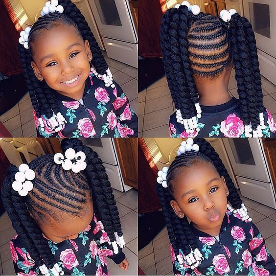 What Kind Of Braiding So Lovely Gorgeous Check Our Bio Link For More Hair Extensions Hairst Black Kids Hairstyles Braids For Kids Braid Styles For Girls