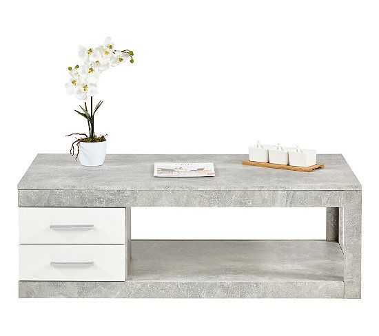 table basse matt beton blanc table