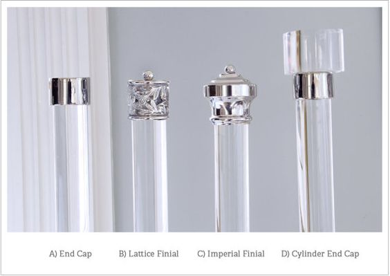 Set of two (2) curtain rod finials for a 1.5 diameter rod. Finials attach to the rods with a set screw or custom internal screw, adjustable with a hex