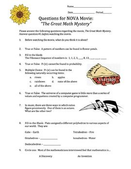 math worksheet : this is a movie guide for the nova the great math mystery the  : Math Mystery Worksheets