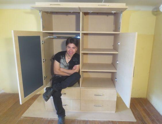 Como hacer un ropero o closet de mdf facil m quinas - Como vestir un armario ...