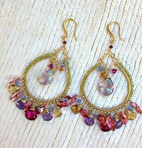 Colorful Chandelier Earring Luxury Gemstone by DoolittleJewelry