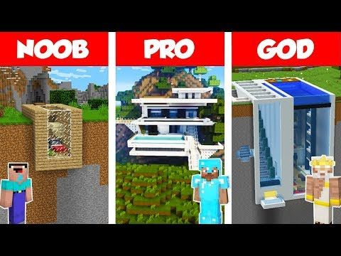 Minecraft Noob Vs Pro Vs God Modern Mountain House Build Challenge In Minecraft Animation Youtube Deco Chambre Minecraft Minecraft Vs