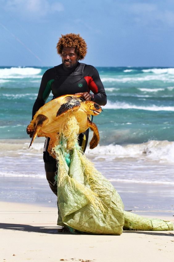 Kitesurfer Mitu Monteiro showed his courage by rescuing the sea turtle in a place he warns people about going: near dangerous rocks of Serra Negra Beach.