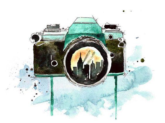 A través de la lente pieza de arte acuarela por KelseyMDesigns