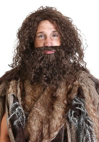 Adult Men/'s Deluxe Prehistoric Cave Man Long Hair Wig and Beard Cosplay Accesso