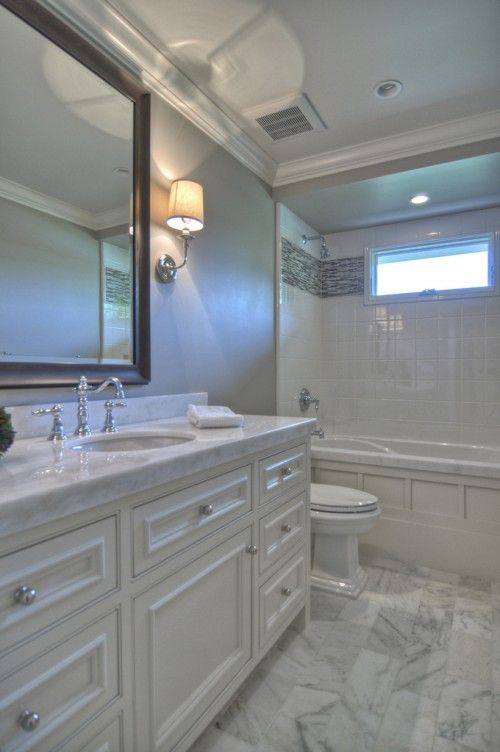 Why Bathroom Remodeling How To Set Bathroom Remodeling: Classic White Carrera Marble Bathroom. Why A Black Frame
