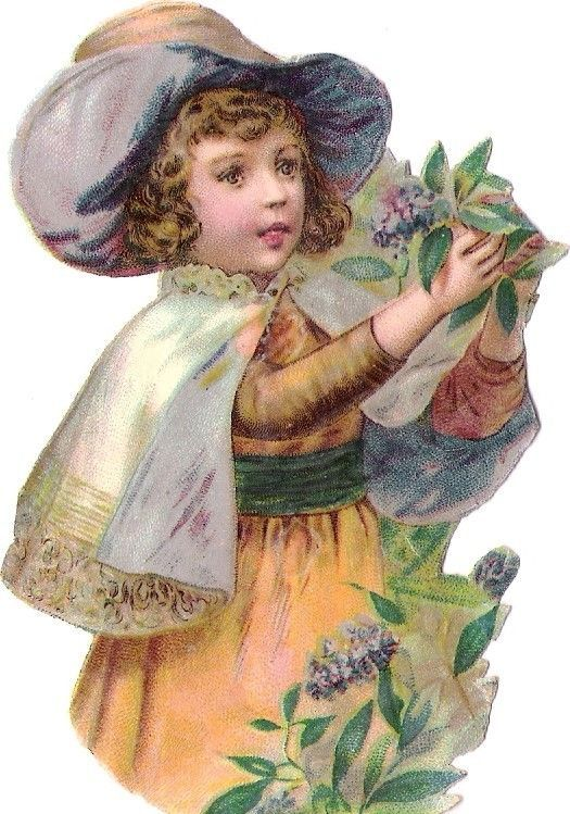 Oblaten Glanzbild scrap die cut chromo Kind child girl Flieder lilac Garten hat: