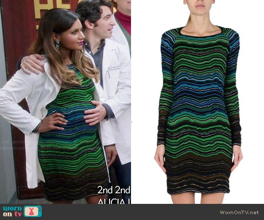 Mindy's green striped dress on The Mindy Project.  Outfit Details: http://wornontv.net/46930/ #TheMindyProject