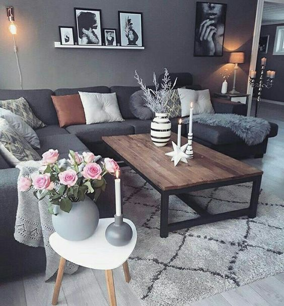 Dark Gray Couch Living Room Ideas With Images Dark Living