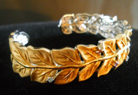 Vintage Sterling Silver Cuff Bracelet Gold Vermeil by LakeBreezes, $77.00
