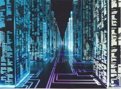 """""""Thinking further about the term, we see that it is a portmanteau between """"cybernetics"""" and """"space."""" Thus we might also define """"cyberspace"""" as a site where information is organized and controlled. Gibson sometimes emphasizes cyberspace's lack of physicality or materiality, calling it a """"nonspace.""""  """""""