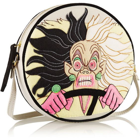 Olympia Le-Tan Cruella Dizzie suede-trimmed embroidered canvas... ($990) ❤ liked on Polyvore featuring bags, handbags, shoulder bags, embroidered handbags, black shoulder bag, colorful purses, embroidery purse and black handbags