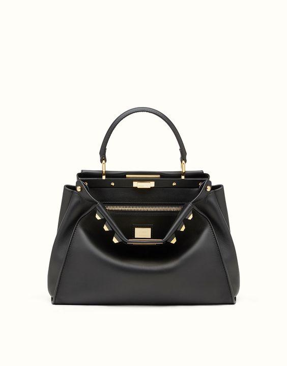 fendi peekaboo regular gold edition black leather handbag with studs
