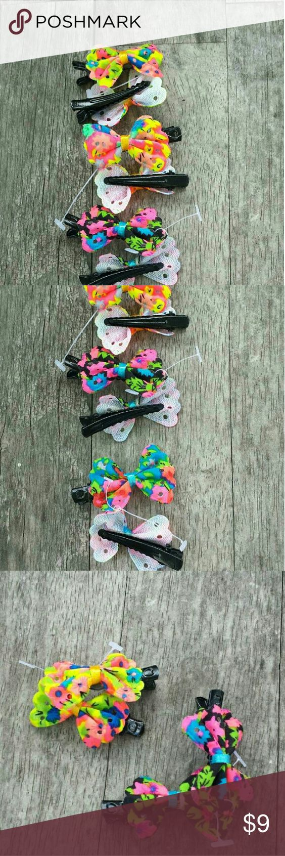 "??8 Neon Colored Bows These bright bows measure 1.5"" & feature neon bows on metal clips designed for fine hair. Each bow is slightly different yet complementary to the others. A bright, cheerful accessory to so many outfits!   #0729-8/14-1 Accessories Hair Accessories"