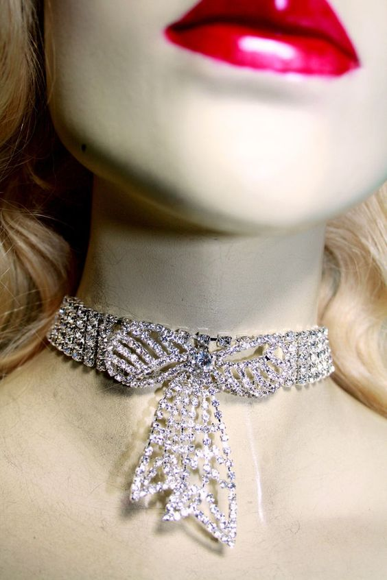 Rhinestone Choker Bow Tie Necklace  Austrian Crystal Earring Set Pageant Prom #Unbranded