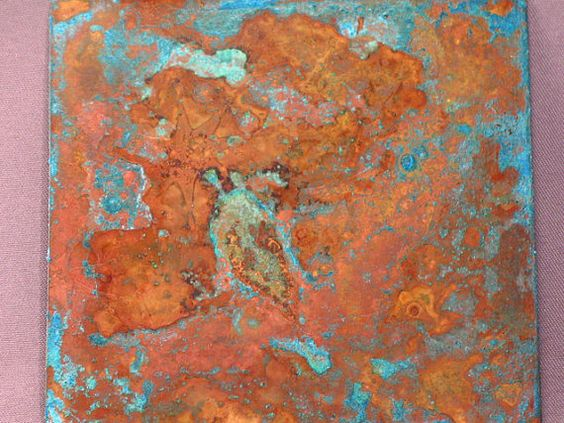 Handmade 26ga Gauge Etched and Patina COPPER Sheet 3 X 3 ...