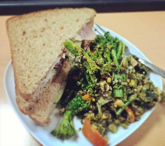Lunch game is strong this week! Leftover Christmas ham sandwich with @marksandspencer kale and squash salad #healthylunch #kale #instafood
