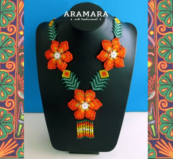 Mexican Huichol Beaded Necklace and Bracelet Set by Aramara