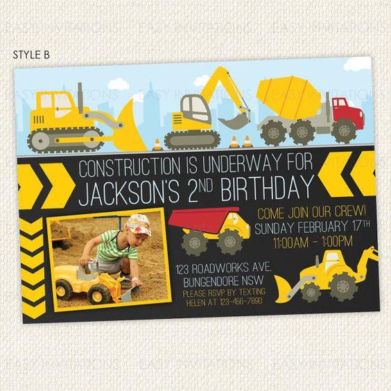 Excavadora construcción camión cumpleaños por EasyInvites en Etsy