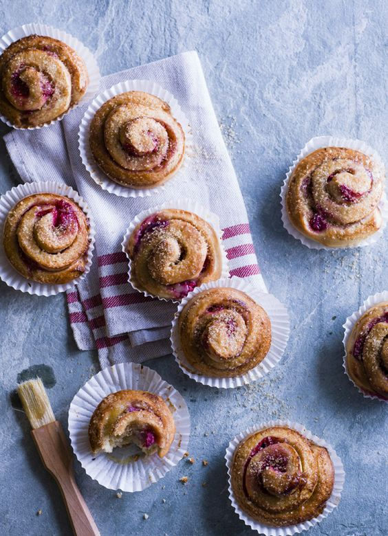 Cardamom and raspberry Swedish buns - made with a brioche-style dough and filled with raspberries, the family will love them.