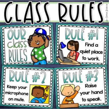 Distance Learning Zoom Meeting Online Rules Posters Back To School Editable Classroom Rules Poster Distance Learning Classroom Rules