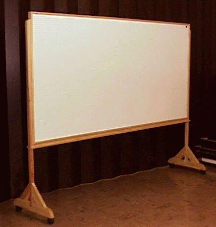 photo of free standing white board on casters, made by hand.