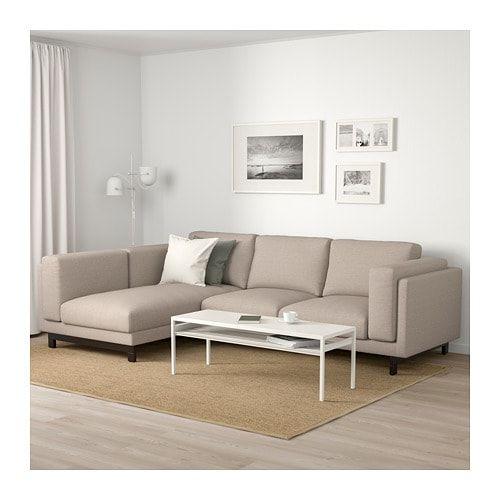 Nockeby 3er Sofa Mit Recamiere Links Lejde Dunkelbeige Verchromt Ikea Deutschland Nockeby Sofa Beige Sofa Chaise Longue