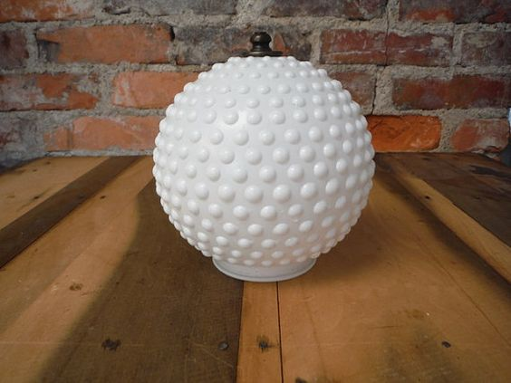 Offering a Vintage Milk Glass Hobnail Ceiling Light/Globe/Shade.   Mid Century Modern Style  1970s Era  top lip measures about 3.25 from edge to edge