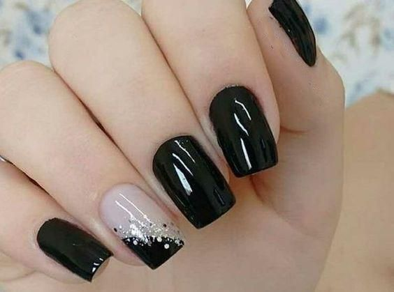 99+ Trending Black Nails Art Manicure Ideas; Black coffin