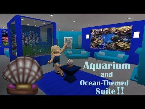 Roblox Bloxburg Fish Aquarium Ocean Room Speed Build Youtube