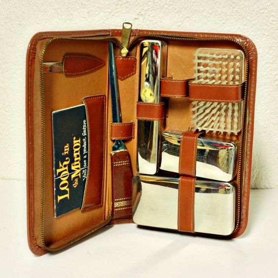 vintage mens groom kit travel kit camping kit shaving kit leather and. Black Bedroom Furniture Sets. Home Design Ideas
