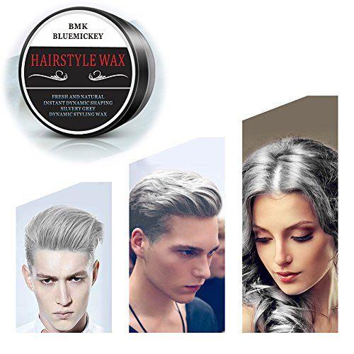 Bmk Silver Gray Color Hair Wax Temporary Silver Ash Wax Hairstyle Hair Dye Wax For Party Cosplay Nightclub Masquerad Ha Hair Wax Dyed Hair Party Hairstyles