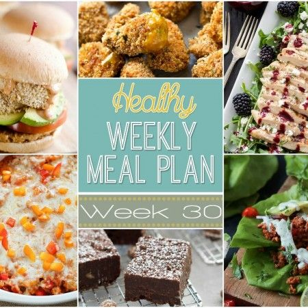 Want to save money on groceries and eat healthier? Plan out your meals for the week with our Healthy Weekly Meal Plan! Week 30 is filled with so many great recipes! Lots of healthy main dishes to add to your dinner rotation! Plus a breakfast, lunch, snack and even an amazing dessert, too!