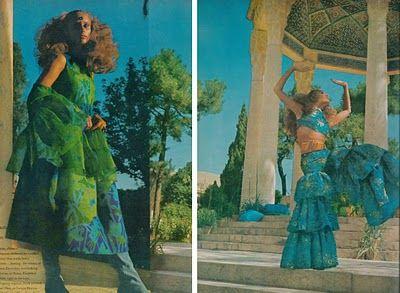 From Shiraz to Persepolis, Henry Clarke captures models Marisa Berenson, Lauren Hutton and Cynthia Korman in Iran.    Vogue, December 1969