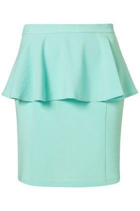 Topshop Mint Textured Peplum Skirt