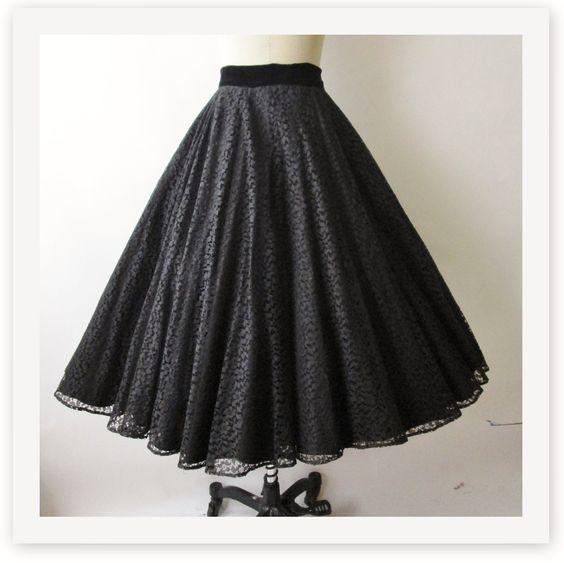50s Lace Skirt //  Vintage 1950s Black Lace Velvet Full 360 Degree Circle Skirt XS. $68.00, via Etsy.
