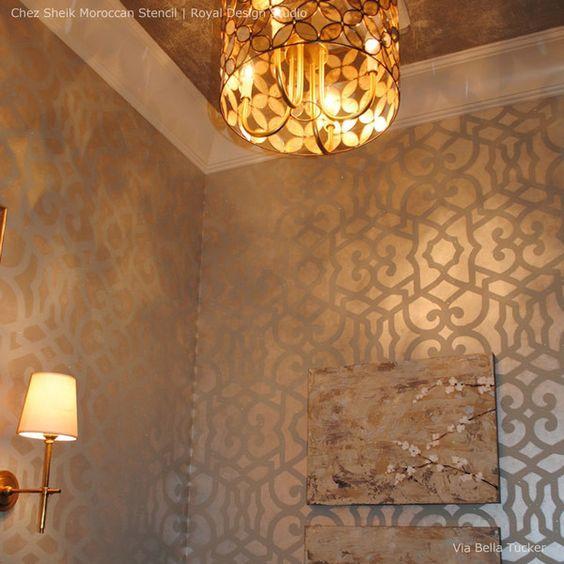 Chez Sheik Allover Wall Stencils for Painting Moroccan Design onto Walls - Metallic Wall Decor - Royal Design Studio