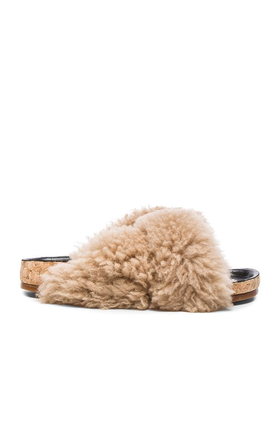 Irrational desire:   Chloe Kerenn Shearling Fur Sandals in Fawn
