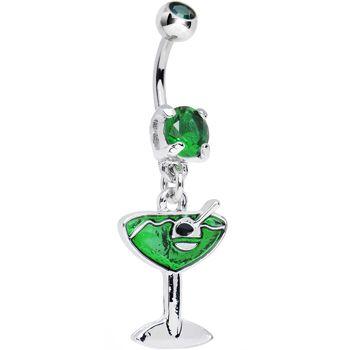 Emerald Green Gem Green Apple Martini Dangle Belly Ring | Body Candy Body Jewelry #bodycandy #piercings #bellyring