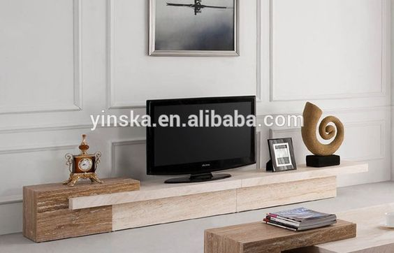 Modern black bony wooden mixed grey marble TV Stand