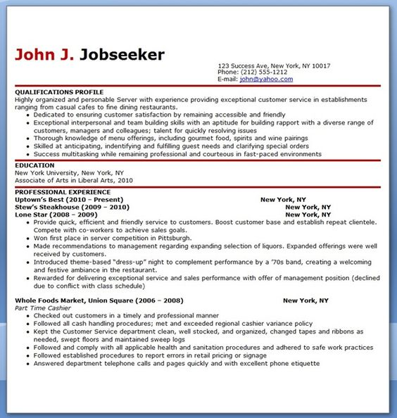 Restaurant Server Resume Sample Free all about that resume - Examples Of Resumes For Restaurant Jobs