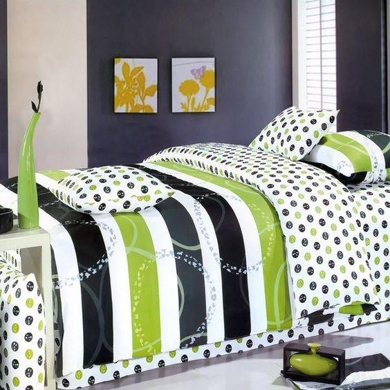 Lime green black dot stripe teen bedding king duvet for Black and lime green bedroom ideas