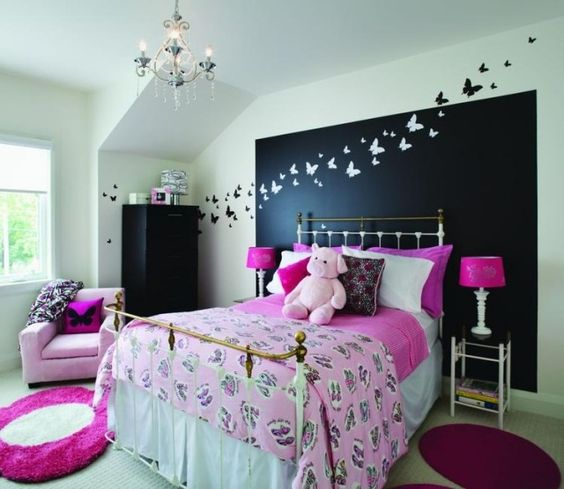 jugendzimmer m dchen gestalten ideen wand deko schmetterlinge lasc pinterest w nde baby. Black Bedroom Furniture Sets. Home Design Ideas