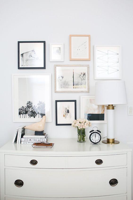 gallery wall above a dresser