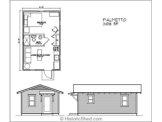 14'x22' one bedroom, one bath cottage (308 SF)